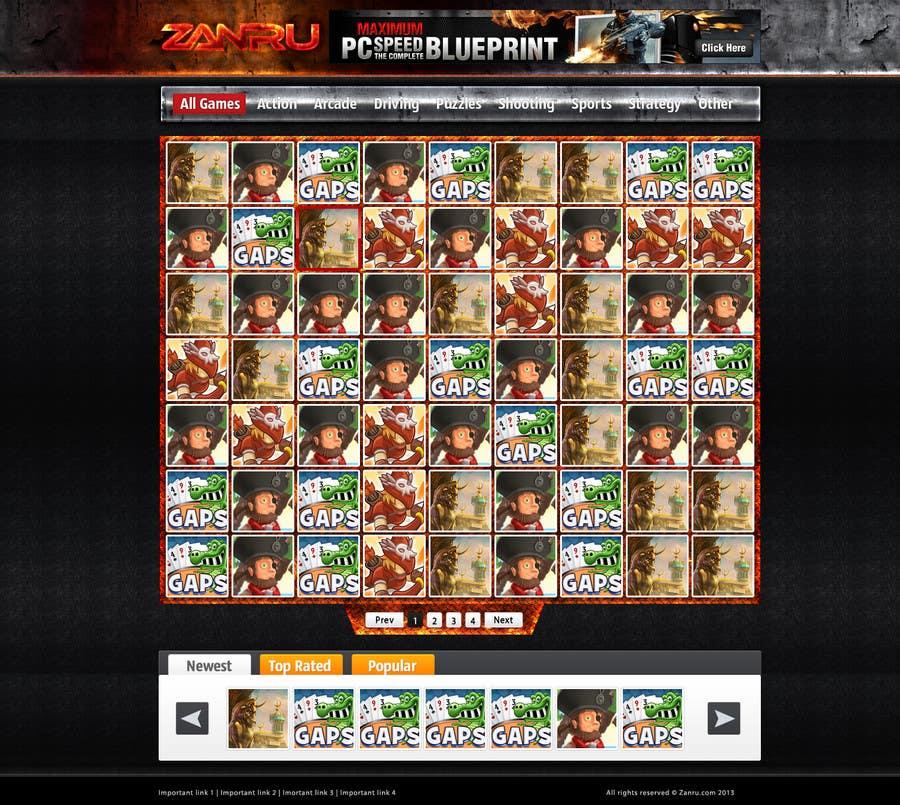 #36 for Design a Mockup for an Online Flash Game Website - Zanru.com by Oskars89
