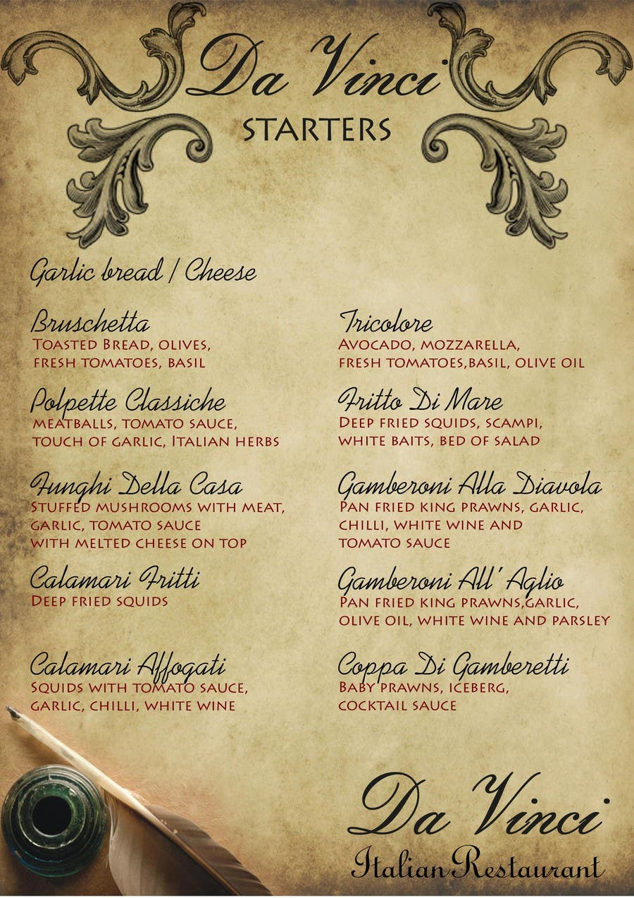 #8 for Menu for Italian Restaurant by stniavla