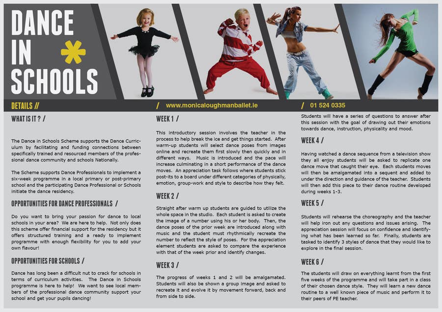 Inscrição nº 27 do Concurso para Design a Brochure for a Dance in Schools Programme