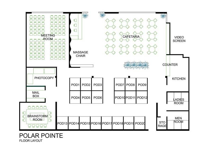 Bài tham dự cuộc thi #                                        9                                      cho                                         Architectural Floorplan Layout for PolarPointe Business Cafe