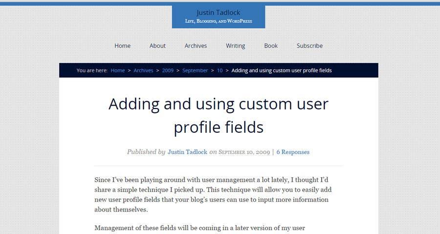 Penyertaan Peraduan #                                        1                                      untuk                                         Add bio info column to wordpress back-end users page