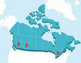Nro 20 kilpailuun Create a Locations Map of Canada With 3 Points käyttäjältä Badraddauza