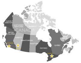 Nro 4 kilpailuun Create a Locations Map of Canada With 3 Points käyttäjältä janeamandasee