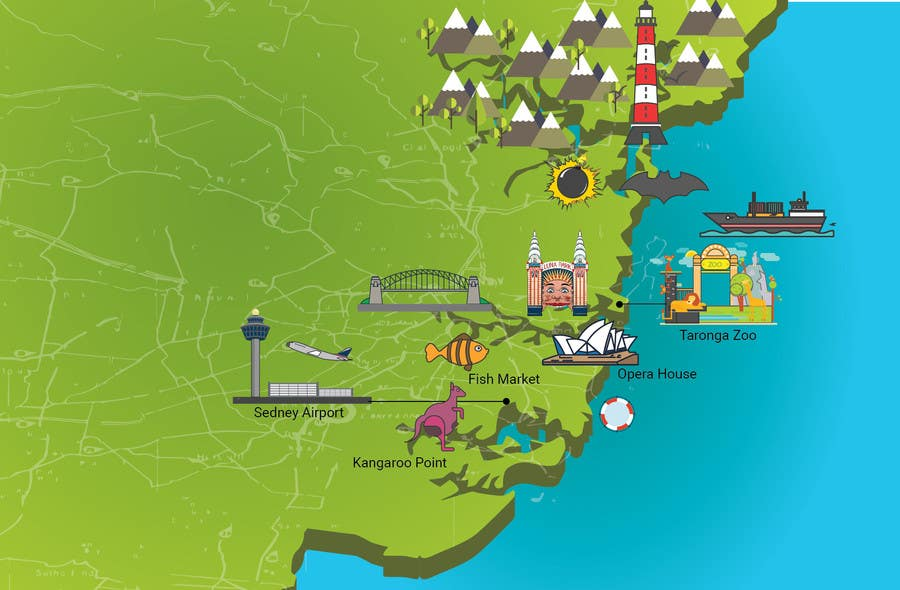Entry #10 by Badraddauza for Illustrate Map of Sydney with cartoon on