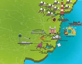 Nro 10 kilpailuun Illustrate Map of Sydney with cartoon like elements käyttäjältä Badraddauza