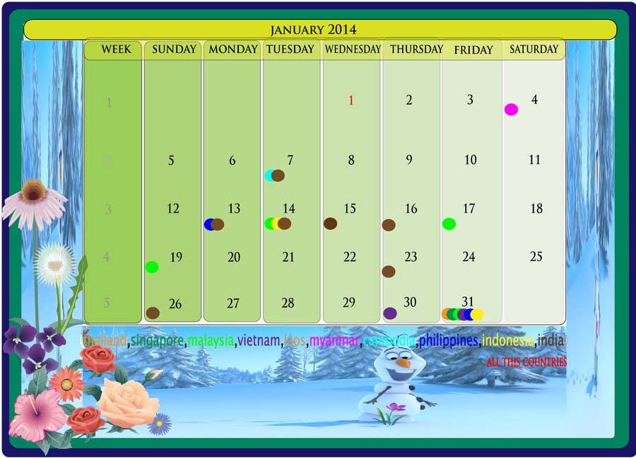 Kilpailutyö #4 kilpailussa Design and Layout 2014 Calendar