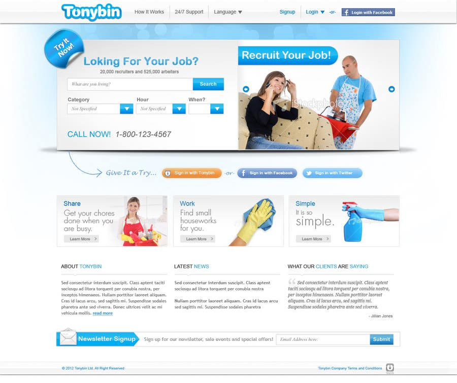 Proposition n°                                        161                                      du concours                                         Website Design for Tonybin (simple and cool designs wanted)