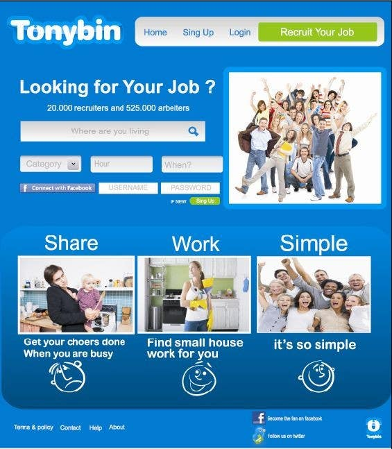 Proposition n°                                        140                                      du concours                                         Website Design for Tonybin (simple and cool designs wanted)