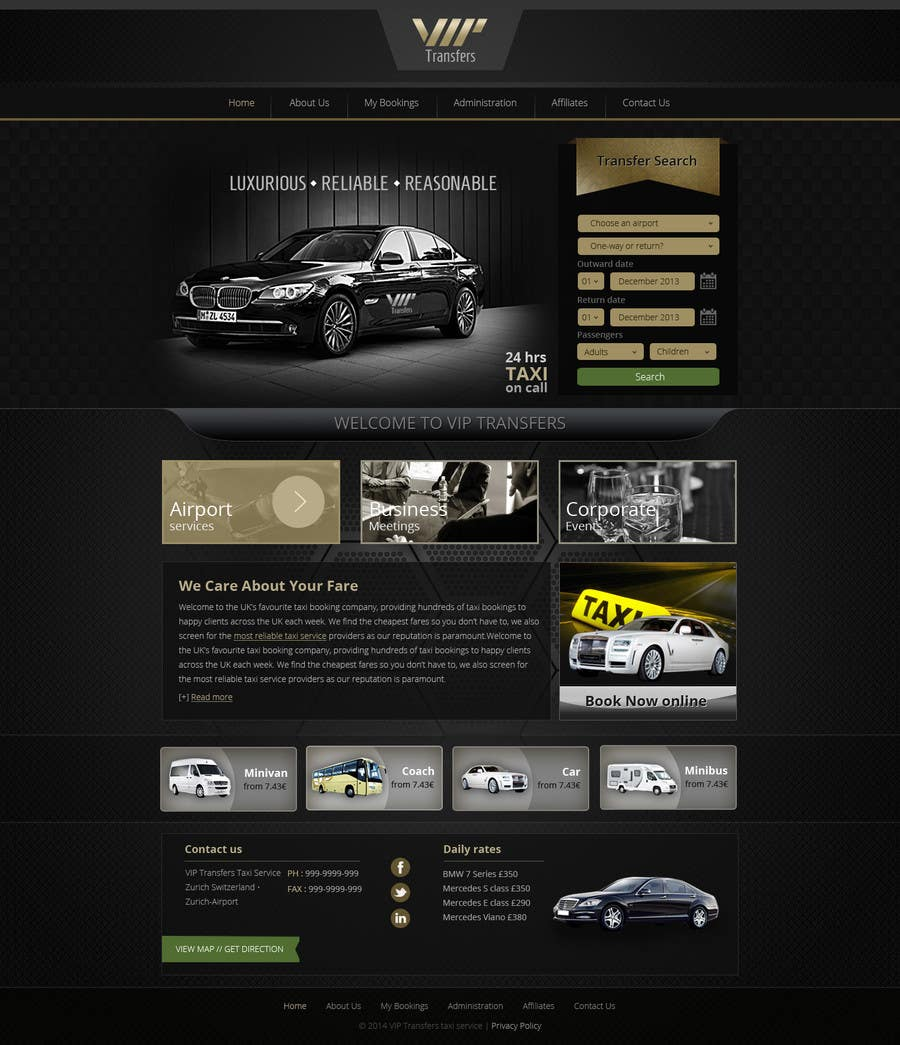 Proposition n°66 du concours Design a Website Mockup for VIP Taxi Transfers