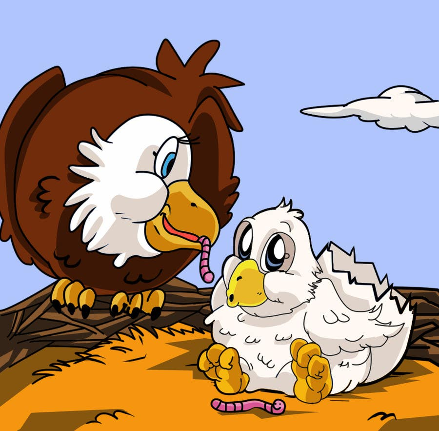 #29 for Illustrating 3 pictures of an eagle baby by v9s2