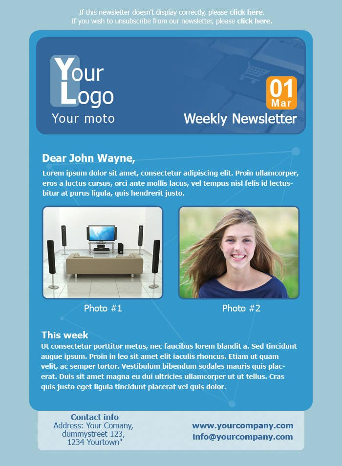 #5 for Photoshop Design for a dummy newsletter by giannoulasv