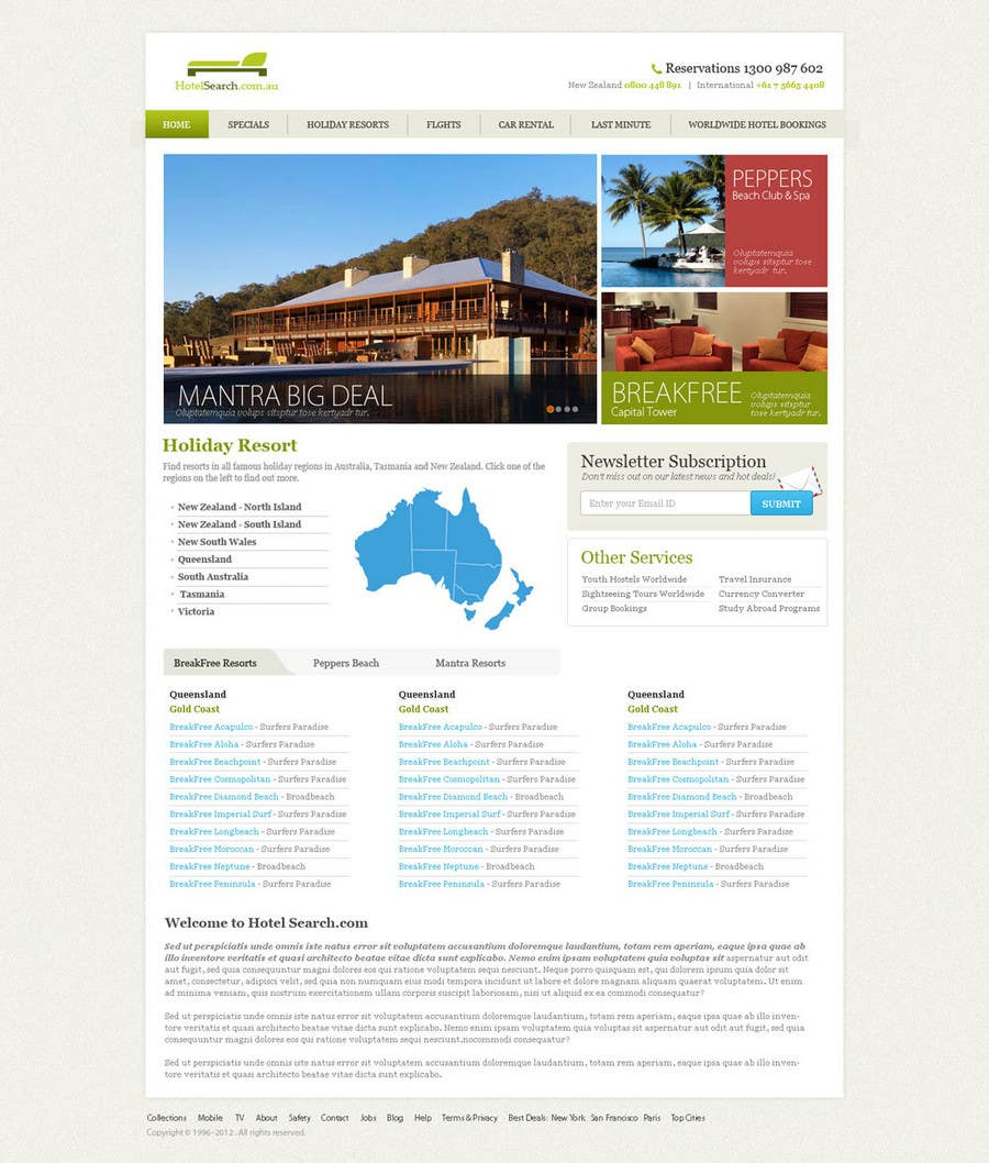Contest Entry #                                        8                                      for                                         Website Design for Hotels and Resorts