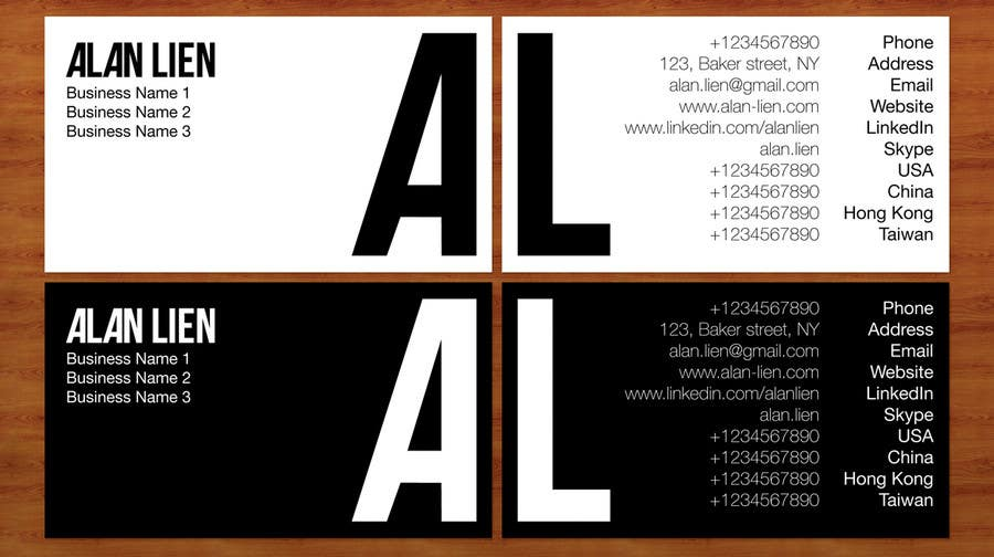Inscrição nº                                         15                                      do Concurso para                                         Business Card Design for Alan Lien