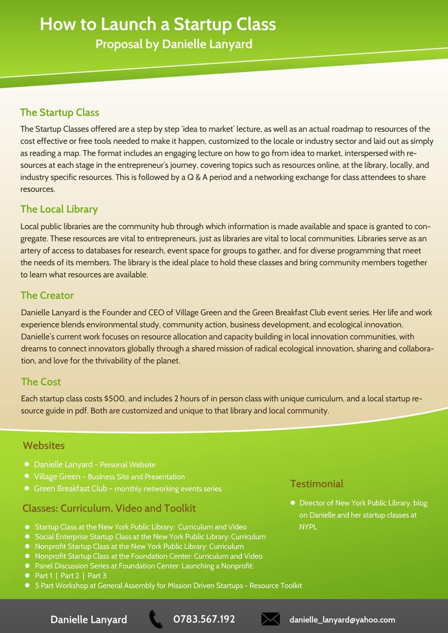 Kilpailutyö #5 kilpailussa Design a Proposal brochure for a new class to be offered