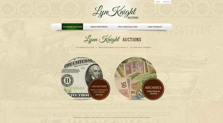 Konkurrenceindlæg #15 for Redesign an Existing Website for a Currency Auction & Store