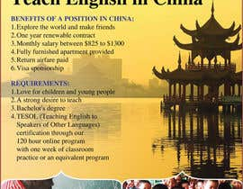 "nº 31 pour Design a Flyer: ""Adventure Awaits - Teach English in China"" par amcgabeykoon"