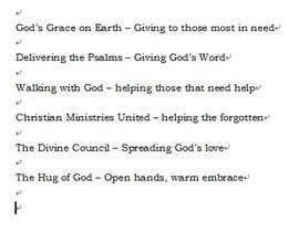 gpstberg tarafından Provide a name & tagline for new Christian Society için no 61
