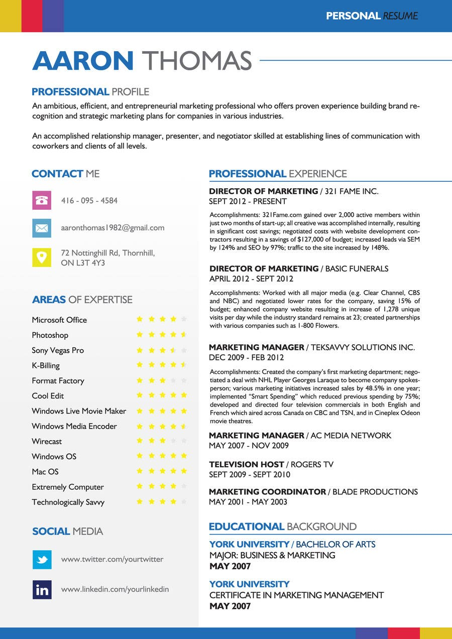 Proposition n°6 du concours convert my resume to an eye catching graphic resume