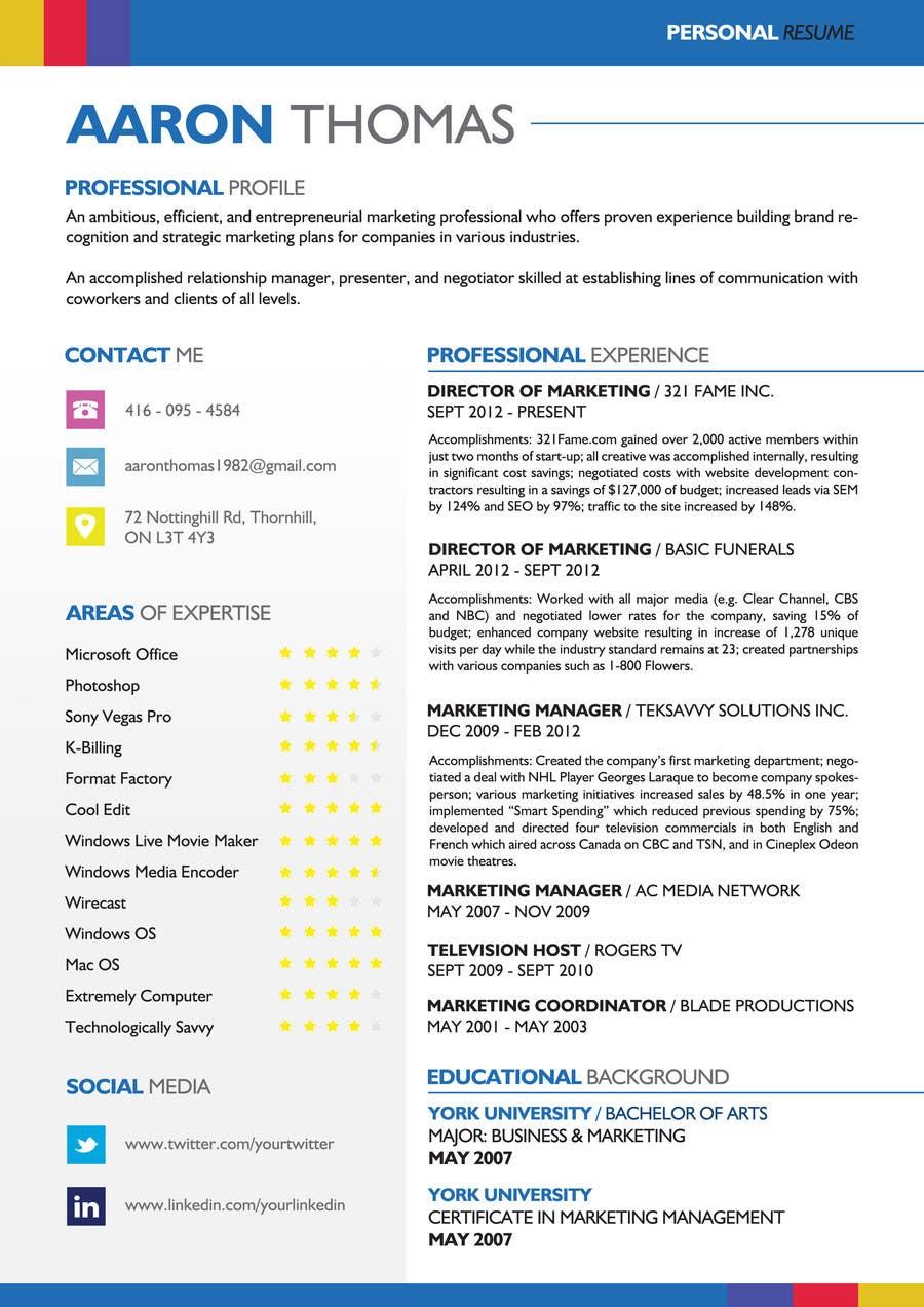 Kilpailutyö #6 kilpailussa convert my resume to an eye catching graphic resume