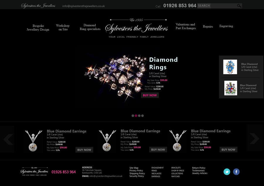 #35 for Website design for a jewellers - Please read the brief. by Ashleyperez
