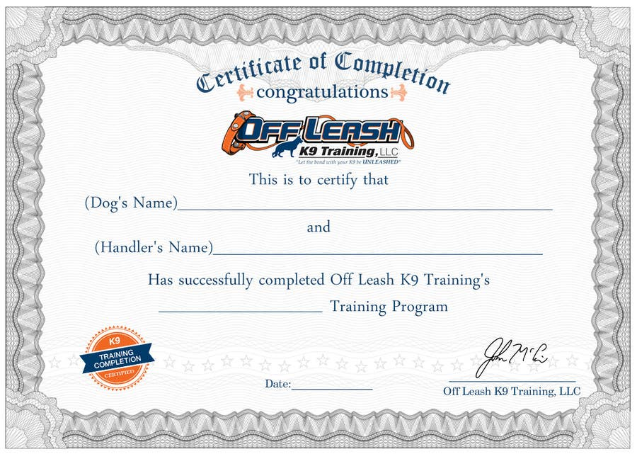 #70 For Design A Certificate Of Completion For Dog Training Business By  Oceanpixels  Certificate Of Completion Training