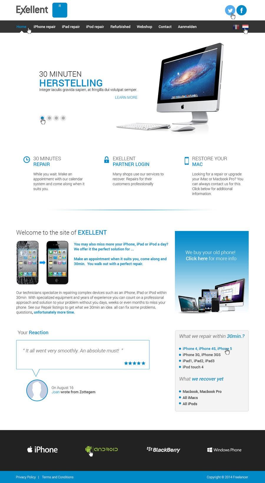 Kilpailutyö #15 kilpailussa Ontwerp een Website Mockup for repair site