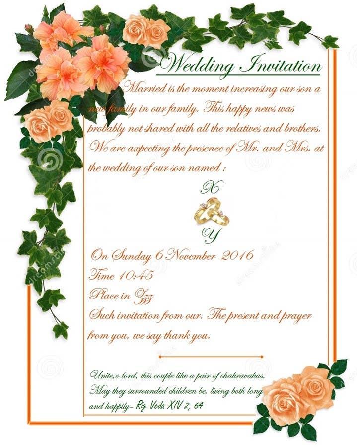 Entry 16 By Sayyidahnurul For Wedding Invitation Wordings Hindu India Freelancer