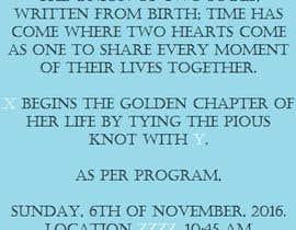 Nro 2 kilpailuun Wedding Invitation Wordings (Hindu,India) käyttäjältä MohabSaleh