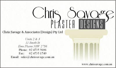Penyertaan Peraduan #9 untuk Business Card Design for Chris Savage Plaster Designs