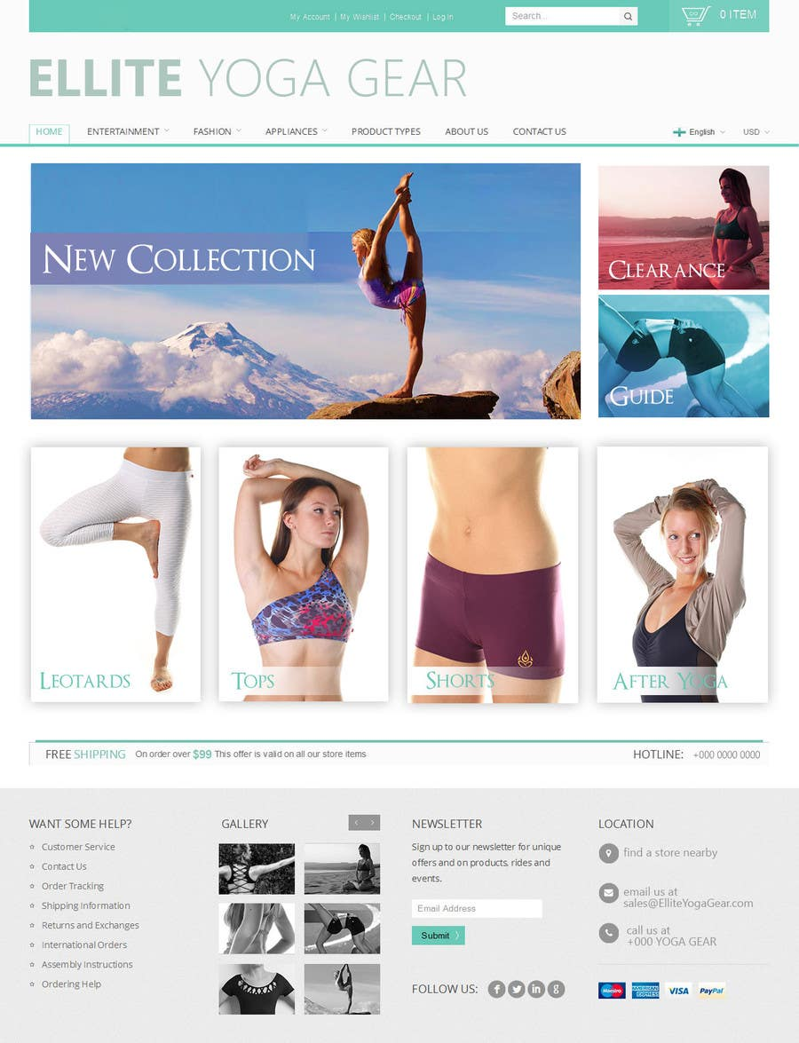 #82 for Design a Website Mockup for Elite Yoga Gear by MrHankey