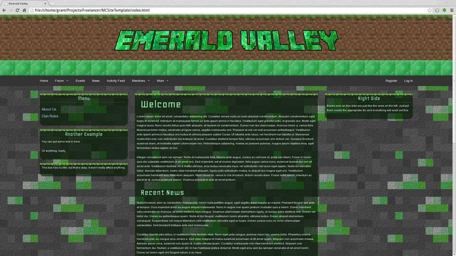 Contest Entry 2 For Design A Basic HTML Website Template My Minecraft Server