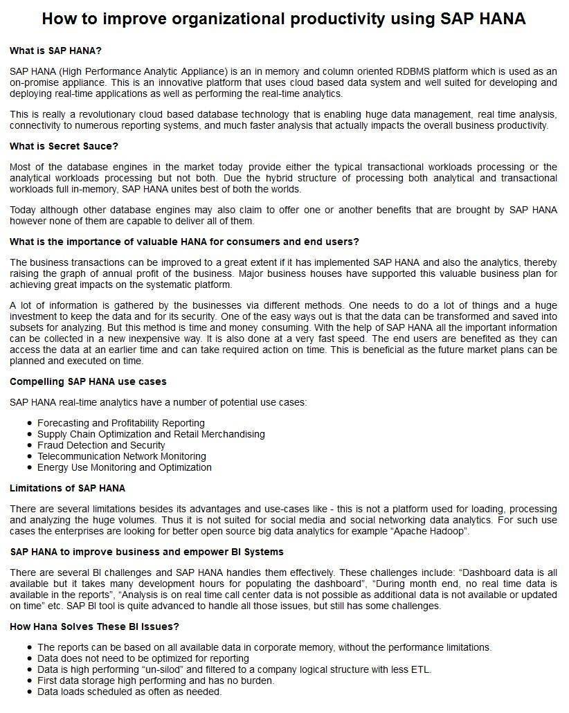 Inscrição nº 4 do Concurso para How to improve organizational productivity using SAP HANA