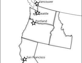 nº 3 pour Cartoonish maps (2) of the (northern) East and West Coasts of the USA par hugolazo