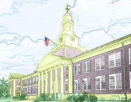 koeswandi tarafından Draw Colored Sketch The College of New Jersey Green Hall For Diploma Frame için no 25