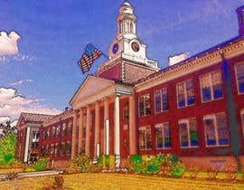 jjwebdesign tarafından Draw Colored Sketch The College of New Jersey Green Hall For Diploma Frame için no 5