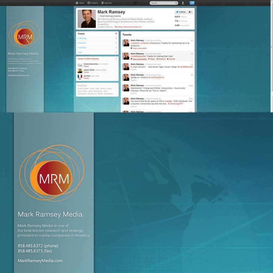 Contest Entry #                                        35                                      for                                         Twitter Background for Mark Ramsey Media