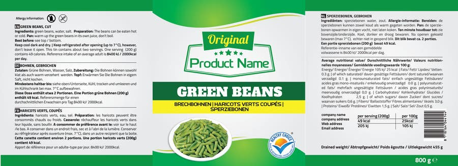 Entry #2 by RedFab for Design Green Bean label for can