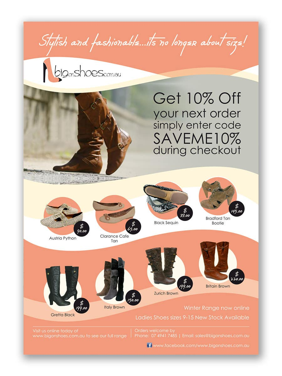 Contest Entry #                                        116                                      for                                         Brochure Design for Big On Shoes- Online Shoe Retailer