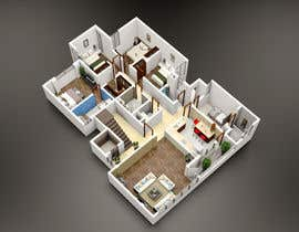 #10 para Apartment unit interior 3d design de khmamun50