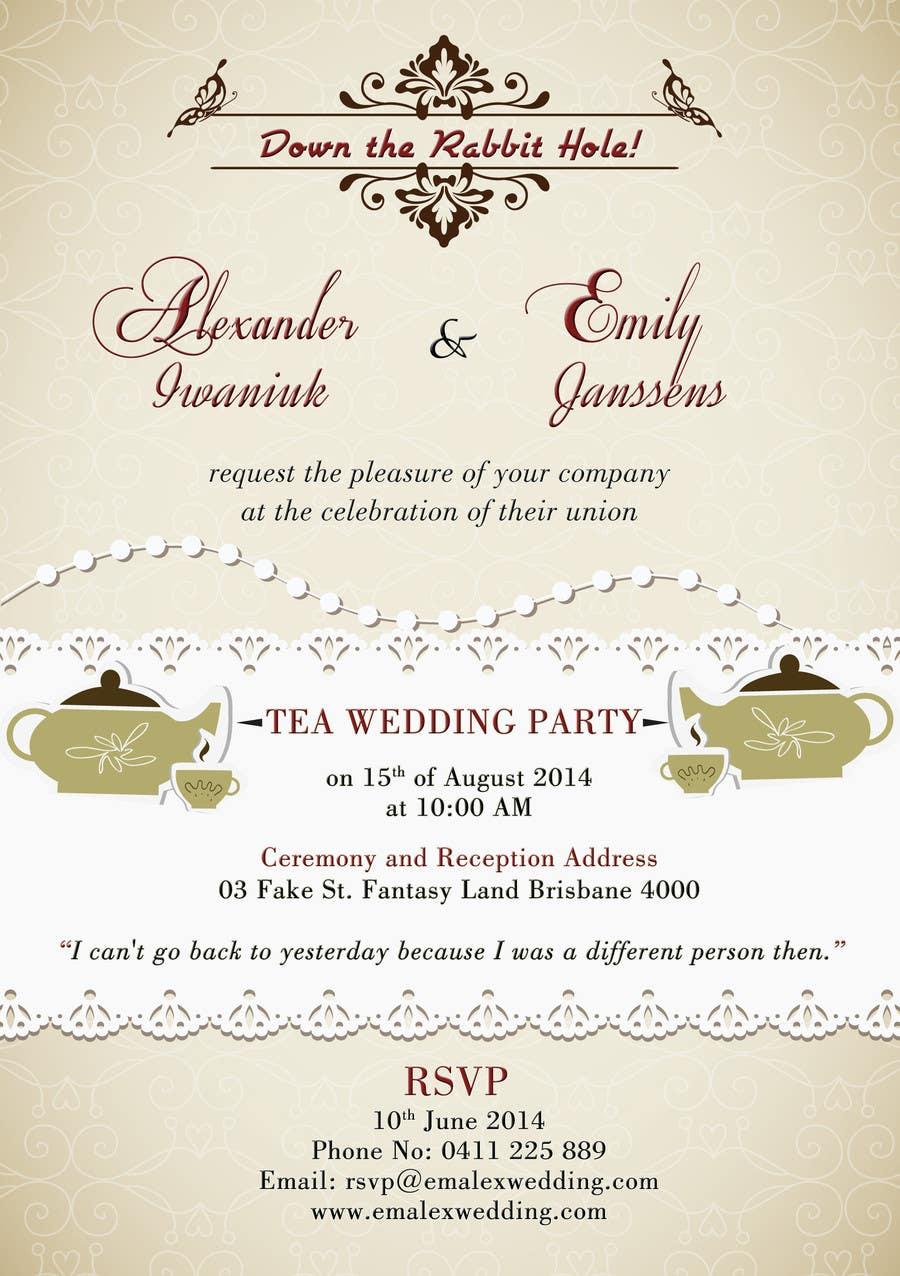 Entry #36 by jackyatienza for Tea Party Wedding Invitation Alice in ...