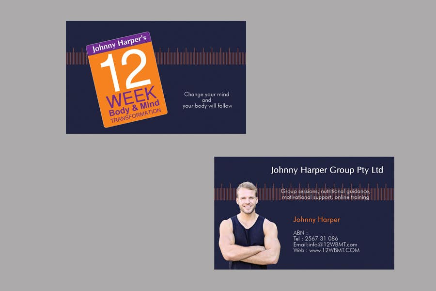 Contest Entry #43 for Business Card Design for Johnny Harper's 12 Week Body & Mind Transformation
