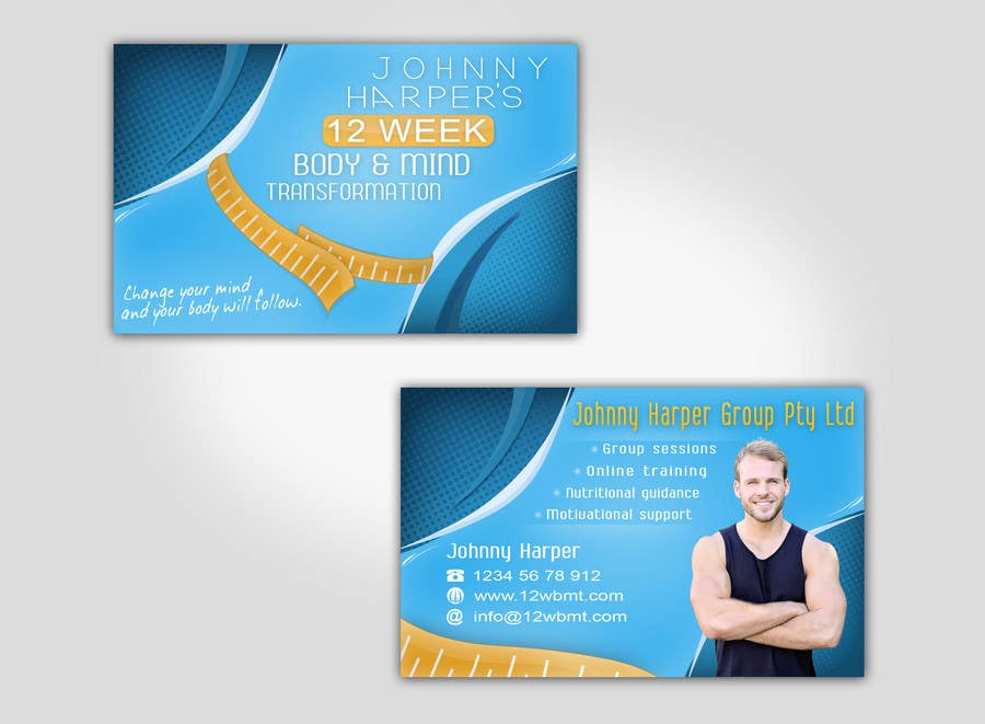 Business Card Design for Johnny Harper's 12 Week Body & Mind Transformation