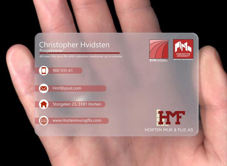 Inscrição nº                                         22                                      do Concurso para                                         Design noen visittkort for Horten Mur og Flis AS