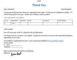 nº 7 pour Design a draft of Thank You letter for a clothing company par lipigandhi