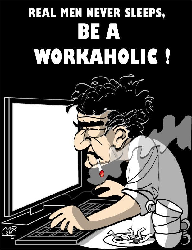 Bài tham dự cuộc thi #                                        4                                      cho                                         Workaholic illustration or cartoon. Design single-panel illustration or cartoon symbolizing a Workaholic (multiple winners possible).
