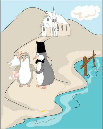 Contest Entry #                                        48                                      for                                         Drawing / cartoon for wedding invite with penguins near the surf