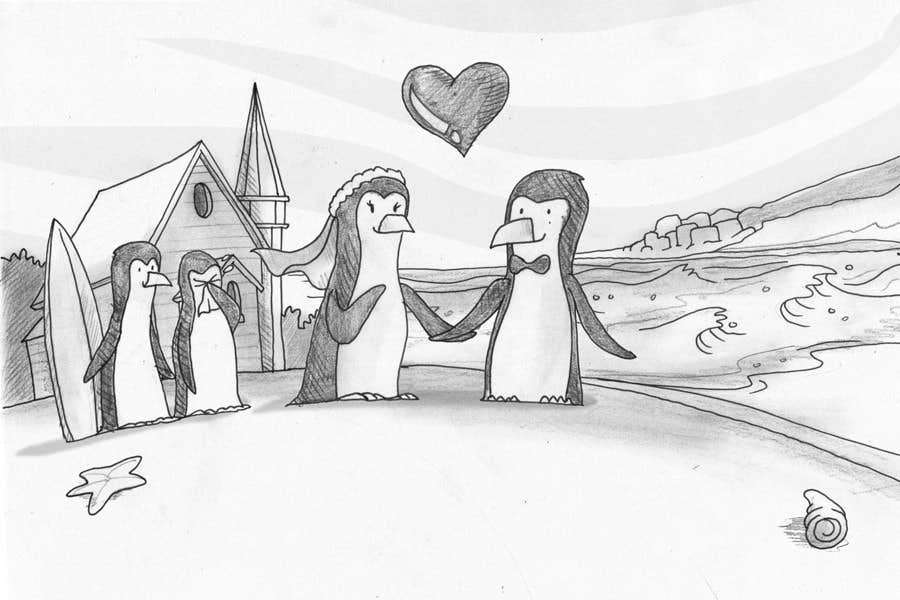 Contest Entry #                                        20                                      for                                         Drawing / cartoon for wedding invite with penguins near the surf