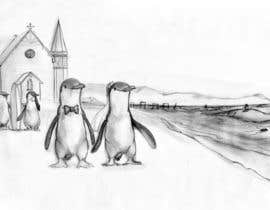 #45 para Drawing / cartoon for wedding invite with penguins near the surf por Ferrignoadv