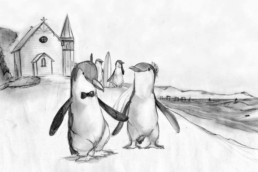 Contest Entry #                                        47                                      for                                         Drawing / cartoon for wedding invite with penguins near the surf