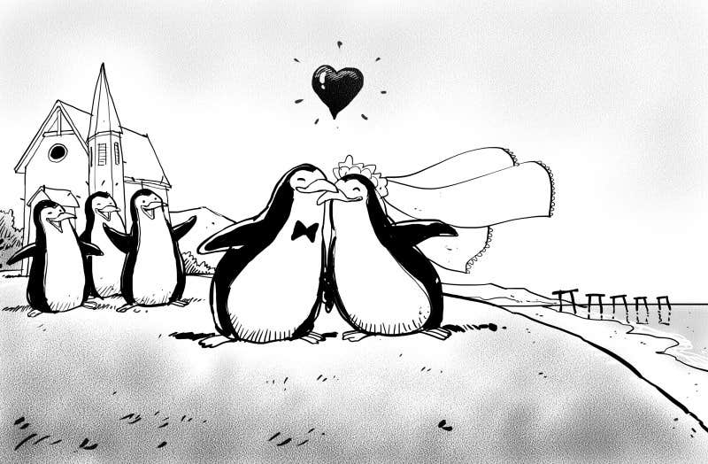 Contest Entry #70 for Drawing / cartoon for wedding invite with penguins near the surf